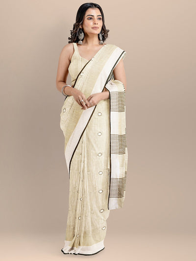 Cream Color Pure Cotton Woven Design Maheshwari Handloom Saree