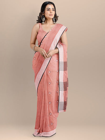Peach Color Pure Cotton Woven Design Maheshwari Handloom Saree