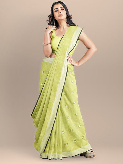 Green Color Pure Cotton Solid Mangalagiri Handloom Saree