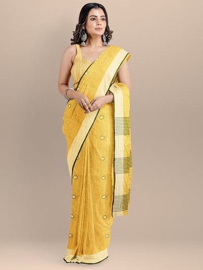 Yellow Color Pure Cotton Woven Design Taant Handloom Saree