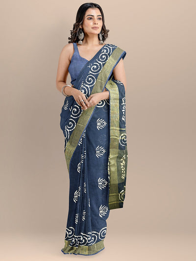 Blue Color Pure Cotton Printed Venkatagiri Handloom Saree