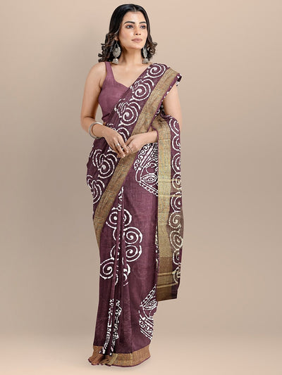 Maroon Color Pure Cotton Printed Venkatagiri Handloom Saree