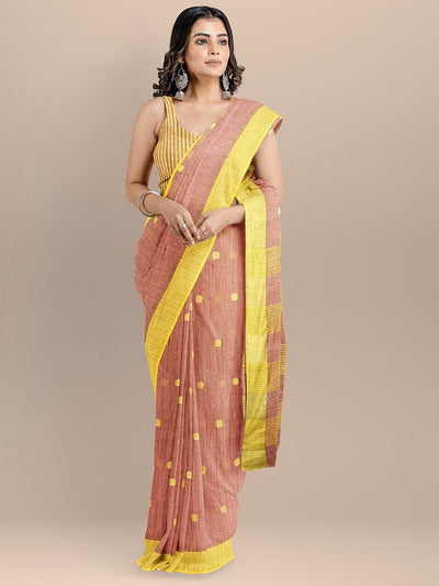 Peach Color Silk Cotton Woven Design Mangalagiri Handloom Saree