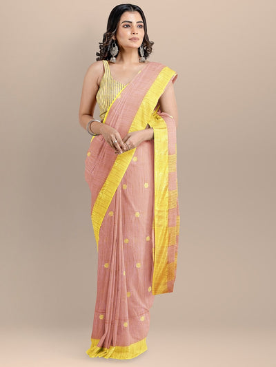 Pink Color Silk Cotton Woven Design Mangalagiri Handloom Saree