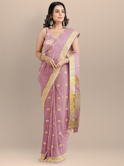 Purple Color Silk Cotton Woven Design Mangalagiri Handloom Saree