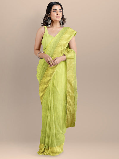 Green Color Silk Cotton Solid Mangalagiri Handloom Saree