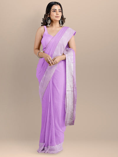 Purple Color Silk Cotton Solid Mangalagiri Handloom Saree