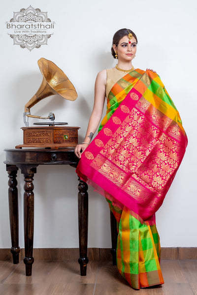 Parrot & Fire Yellow Blocks With Magenta Pallu Pure Kanjivaram Soft Silk Saree
