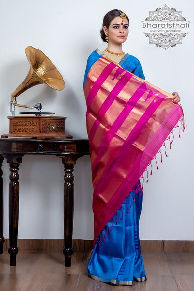 Blue With Burnt Pink & Golden Border Pure Kanjivaram Soft Silk Saree
