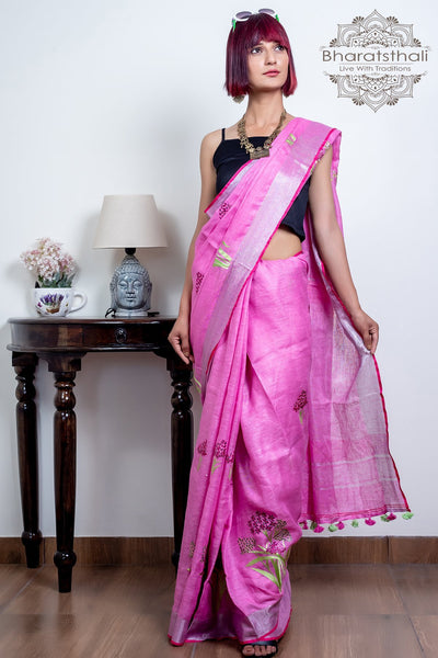 Pink With Silver Border Pure Linen Embroidery Saree
