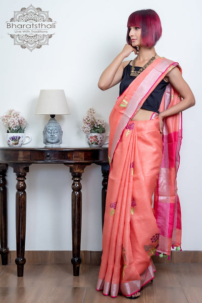 Peach With Magenta Pallu Pure Linen Embroidery Saree