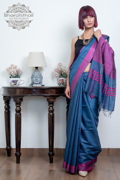 Light Steel Blue With Plum Pink Temple Border Pure Kota Cotton Saree