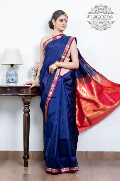 Midnight Blue With Peach Pink Pallu Pure Kanjivaram Soft Silk