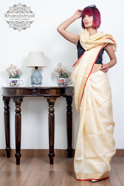 Cream With Golden Pallu Pure Linen Saree