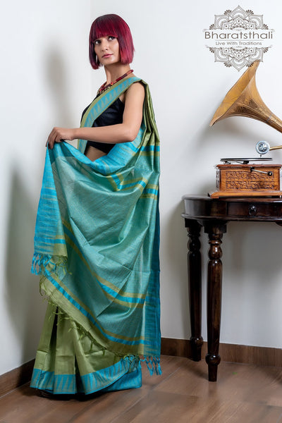 Blue Green With Light Sea Green Pallu Pure Kota Cotton Saree