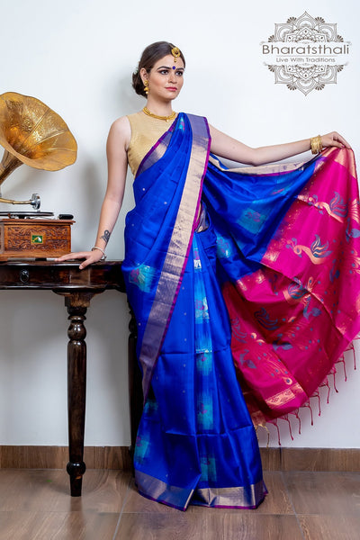 Navy Blue With Dark Carnation Pink Pallu Pure Kanjivaram Soft Silk Saree