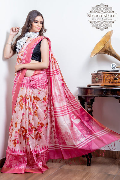 Light Baby Pink With Pink Color Peacock Design Pallu Pure Silk Linen Printed Saree
