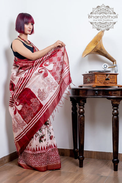 Cream With Maroon Color Peacock Design Pallu Pure Silk Linen Printed Saree