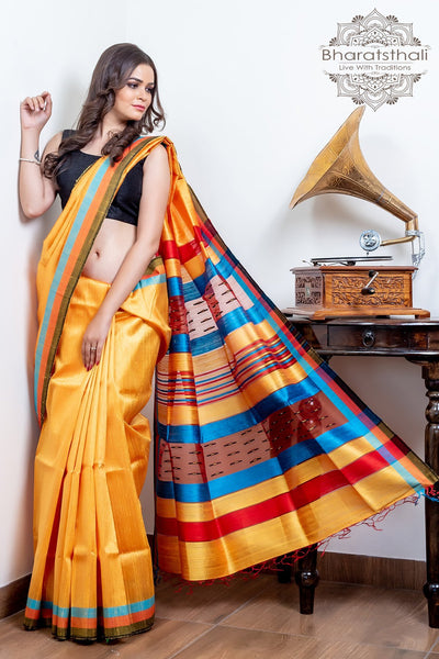 Fire Yellow With Multi Color Border Raw Silk Saree