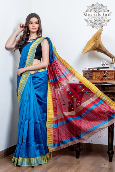 Yale Blue With Red and Yellow Border Pure Raw Silk Saree
