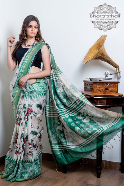 Sea Shell White With Green Color Peacock Design Pallu Pure Silk Linen Printed Saree
