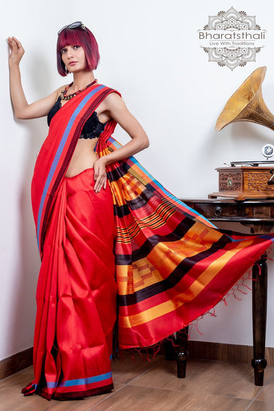 Red With Multi Color Border Raw Silk Saree