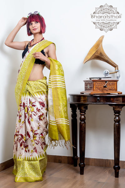 Brass Green With Peacock Design Pallu Pure Silk Linen Printed Saree