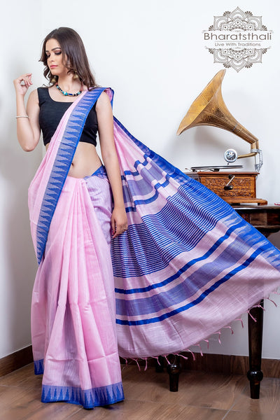 Pink With Purple Temple Border Pure Kota Cotton Saree