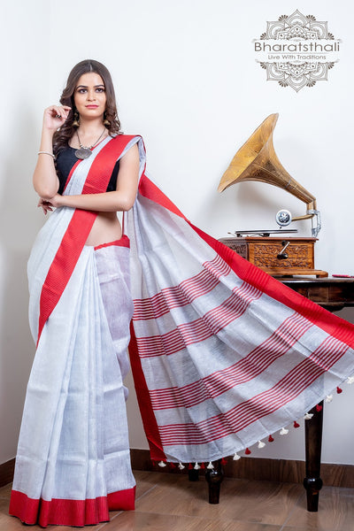 White With Red Border Pure Linen Tissue Saree
