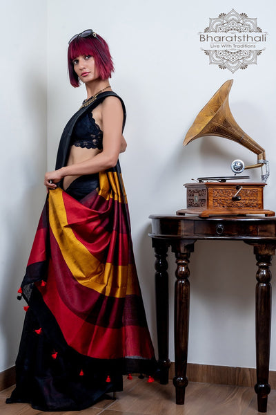 Black With Maroon & Dark Corn Yellow Pallu Pure Linen Saree