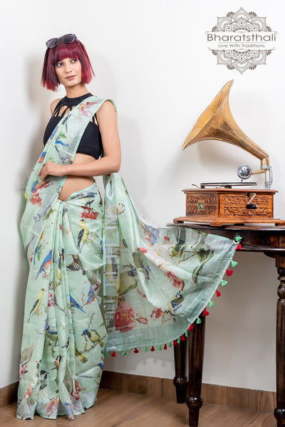Light Jaze Green Pure Linen Digital Print Saree