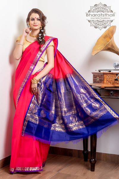 Deep Pink With Purple Pallu Pure Kanjivaram Soft Silk Saree
