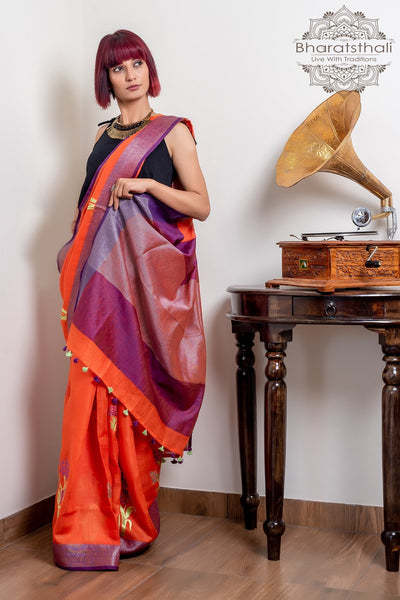 Orange With Purple Pallu Pure South Cotton Embroidery Saree