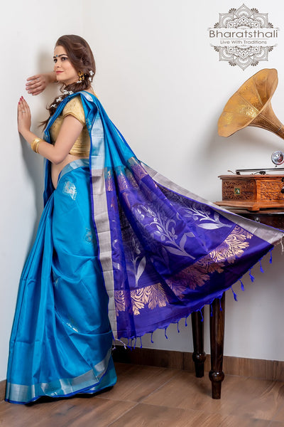 Dark Sky Blue With Purple Pallu Pure Kanjivaram Soft Silk Saree