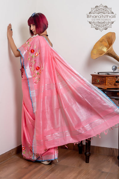 Pink With Silver Pallu Pure South Cotton Embroidery Saree