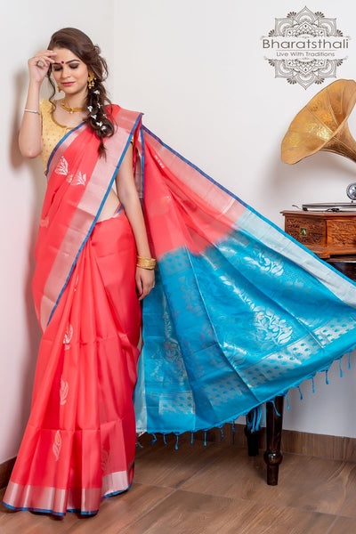 Peach Pink With Deep Sky Blue Pallu Pure Kanjivaram Soft Silk Saree