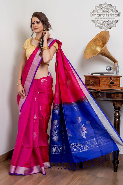Dark Carnation Pink With Purple Pallu Pure Kanjivaram Soft Silk Saree