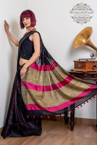 Black With Magenta & Tan Brown Pallu Pure Linen Saree