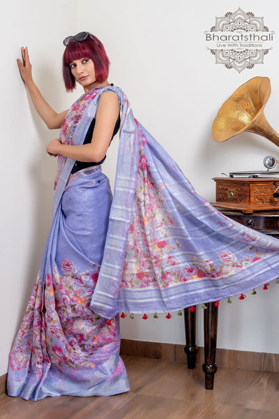 Light Purple Pure Linen Digital Print Saree