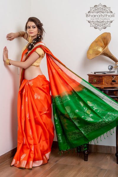 Orange With Green Pallu Pure Kanjivaram Soft Silk Saree