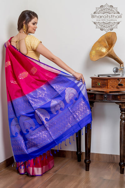 Dark Carnation Pink With Blue Pallu Pure Kanjivaram Soft Silk Saree