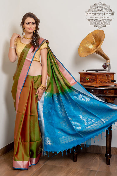 Green With Deep Sky Blue Pallu Pure Kanjivaram Soft Silk Saree