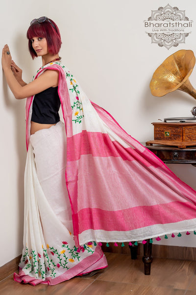 White With Pink Pallu Pure Linen Embroidery Saree