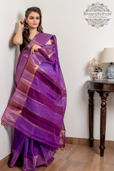 Violet Purple Pure South Cotton Handloom Kovai Cora Saree