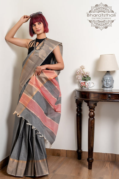 Grey And Pink Pure South Cotton Handloom Kovai Cora Saree