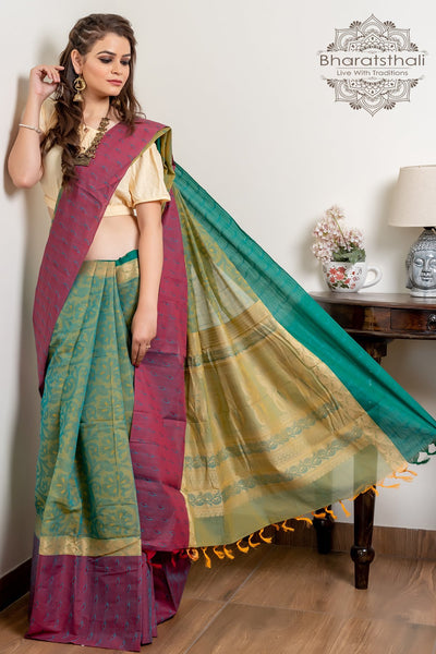Green And Purple Pure South Cotton Handloom Kovai Cora Saree