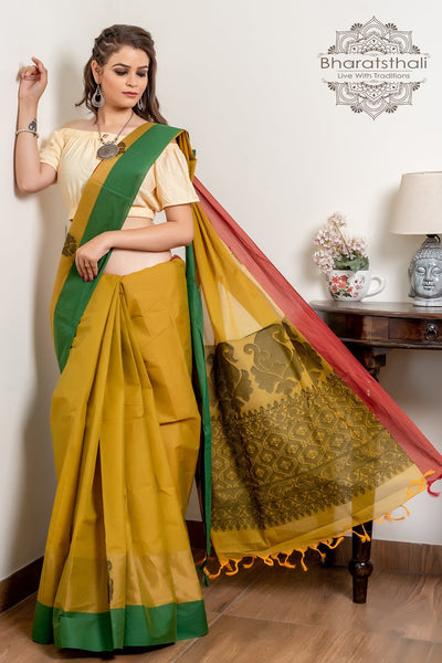 Lime Green And Black Pure South Cotton Handloom Kovai Cora Saree