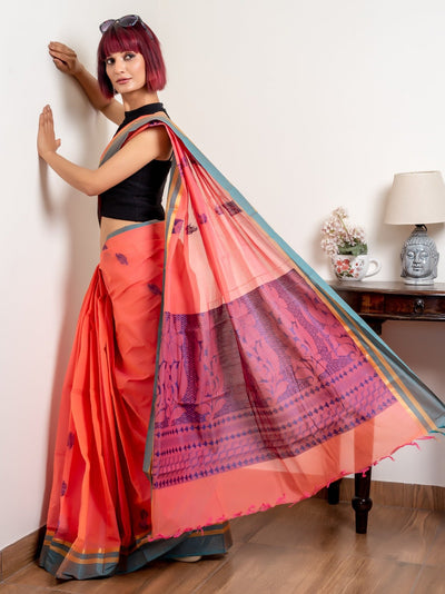 Pink And Blue Pure South Cotton Handloom Kovai Cora Saree