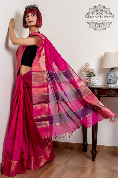 Magenta Pink Pure South Cotton Handloom Kovai Cora Saree