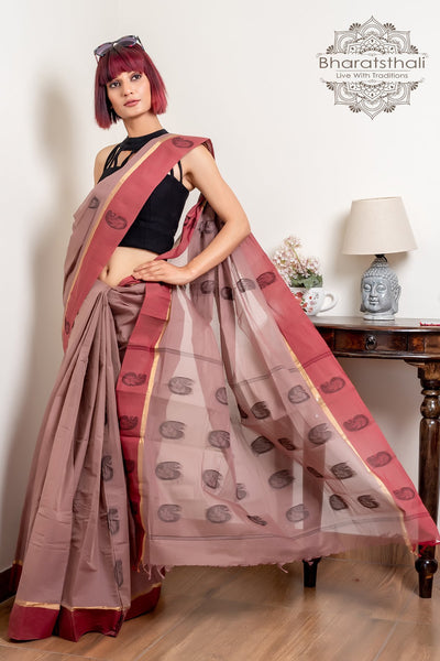 Chestnut Brown Pure South Cotton Handloom Kovai Cora Saree